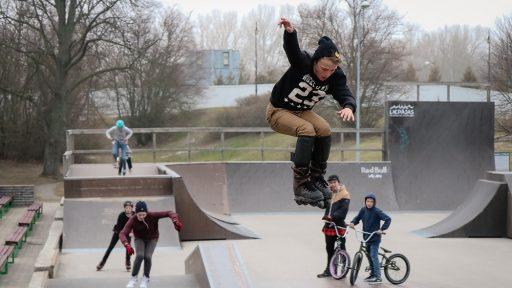 Outside skate park