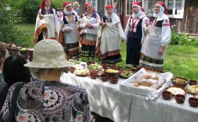 Traditional feast in Ethnographic house